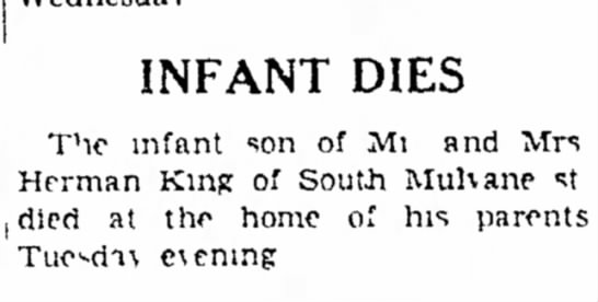 - INFANT DIES The infant son of Mi snd Mrs Herman...