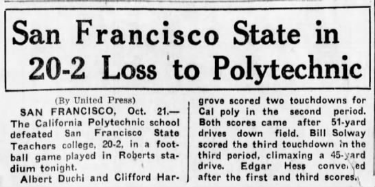 San Francisco State in Loss to Polytechnic -