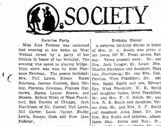 Mrs Phil Lewis attends society surprise birthday party. 1 Sept 1931. -