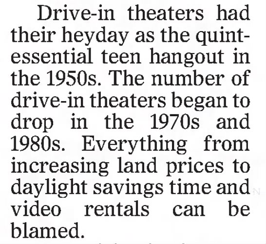 Drive-ins teen hangout in the 1950s -