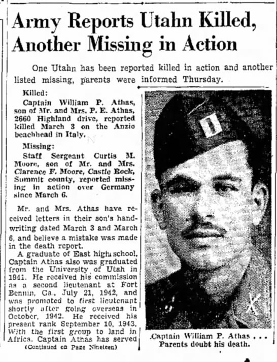 William P Athas - killed in action -