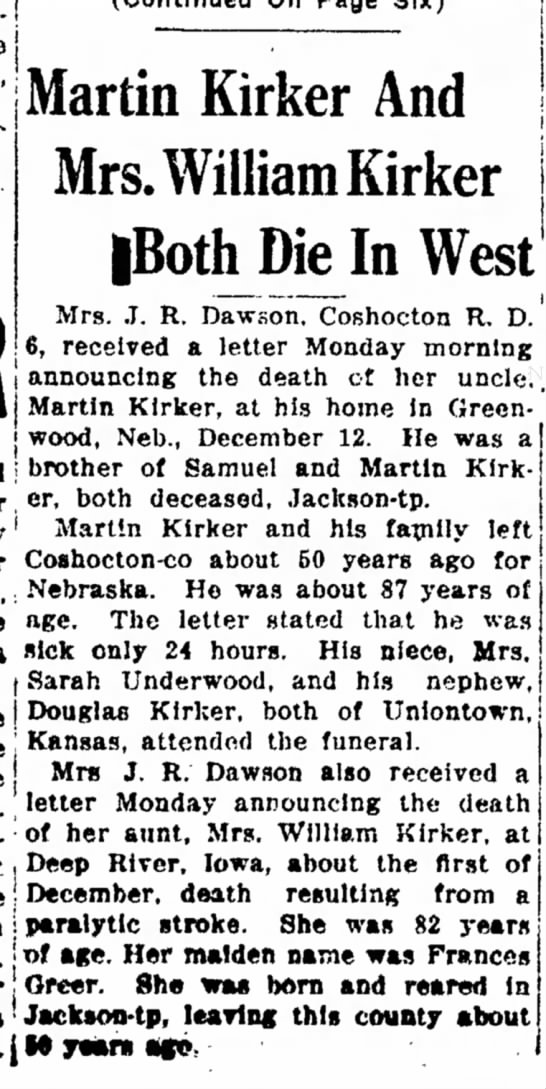 Dawson, Kirker deaths - Martin Kirker And Mrs. William Kirker West and...