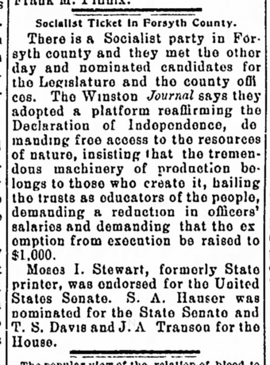 Socialist Ticket named for 1902 in Forsyth County, North Carolina -