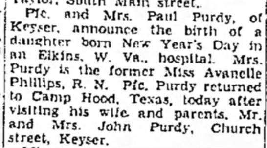 Paul Purdy daughter born -
