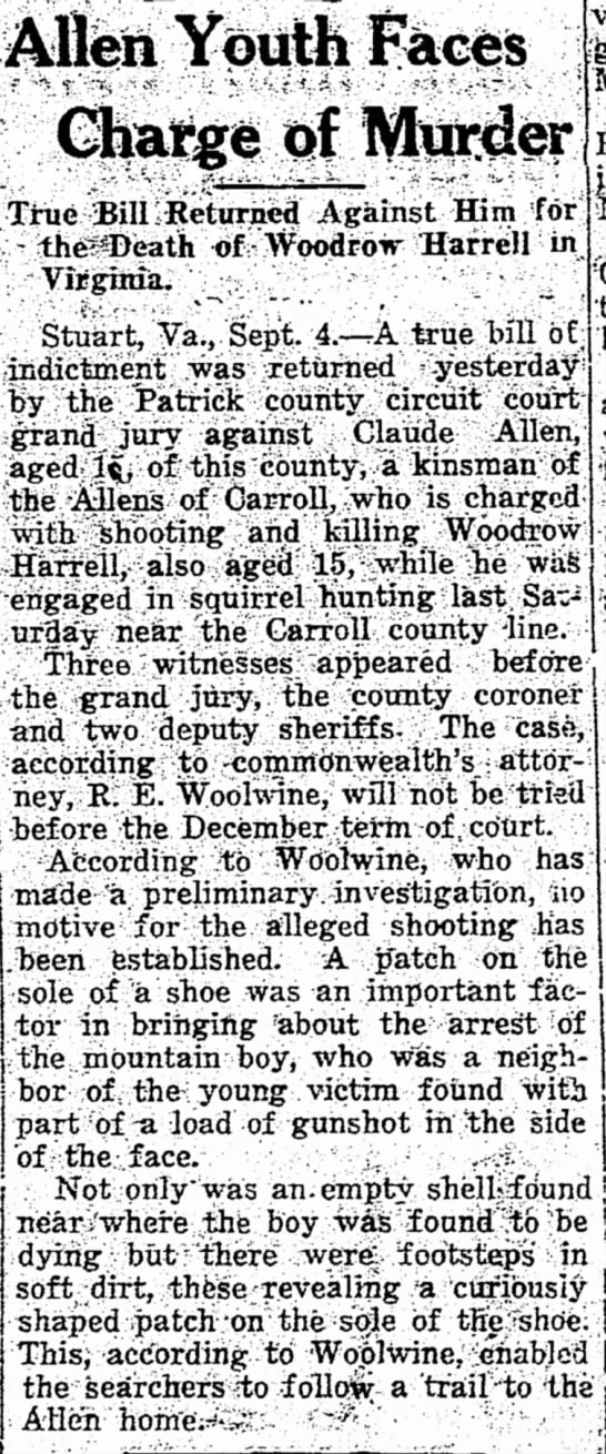 R E Woolwine - Allen Youth Faces Charge of Murder m True Bill...