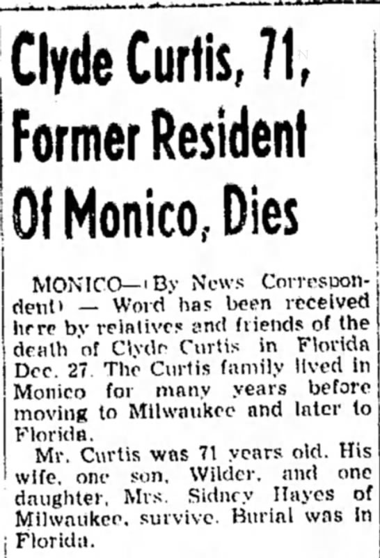 Clyde Curtis, 71, Former Resident Of Monico, Dies -