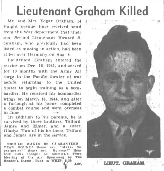 Lt. Graham Killed 12 Oct 1944 -