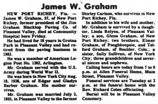 James W. Graham Obit -