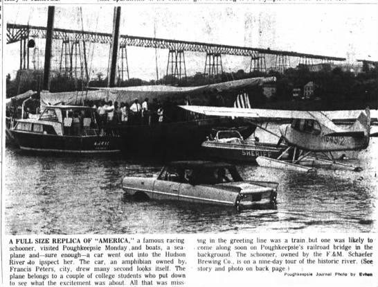 Francis - drives car into river to inspect racing schooner -