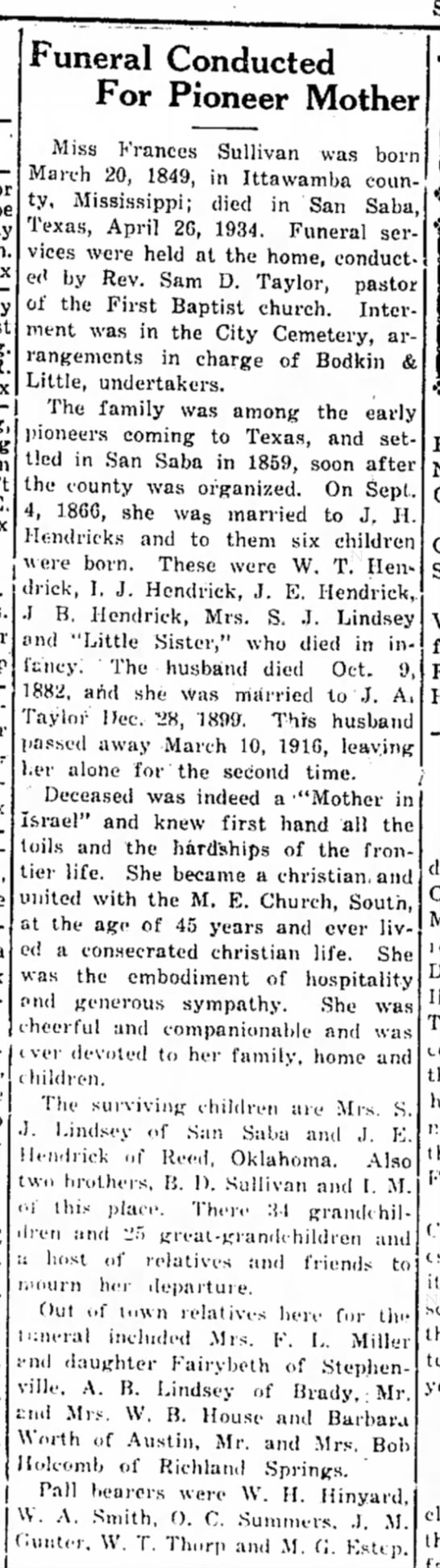 Frances Elizabeth Sullivan Hendrick  Obituary - or Funeral Conducted For Pioneer Mother Miss...