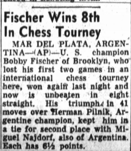Fischer Wins 8th In Chess Tourney -
