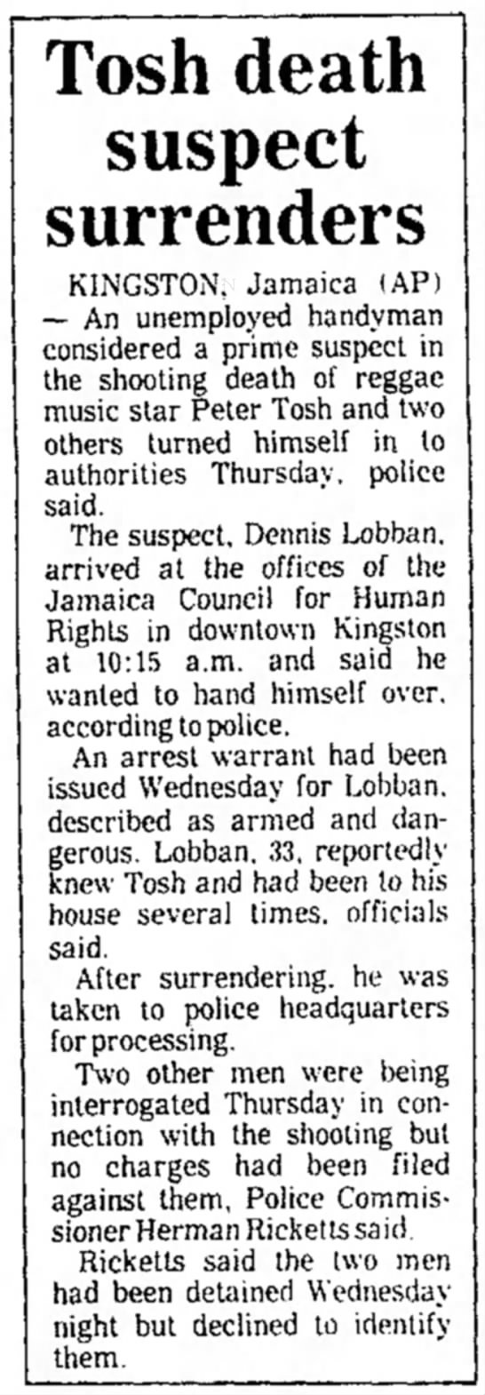 Tosh death suspect surrenders (1987) -