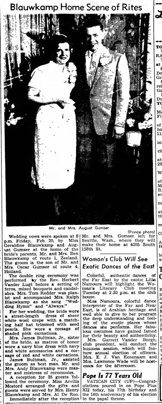 Geraldine Blauwkamp wedding Feb 20 1953 - their a to be an the Peter Westerhof, and They...