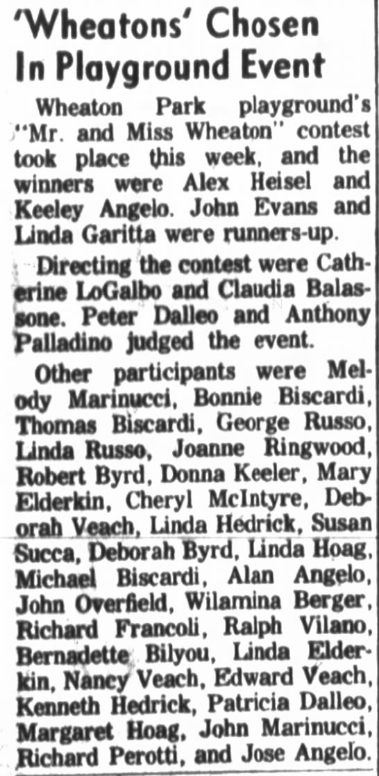 When stars crossed July 5, 1962 - 'Wheatons' Chosen In Playground Event Wheaton...