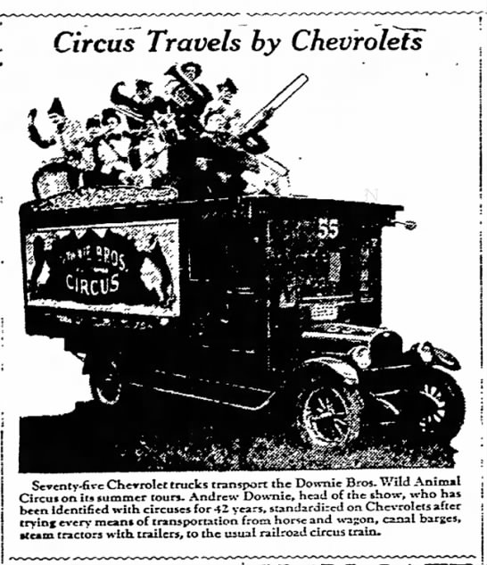 Downie Chevy Ad 10-2-1927 - Jh«. ae» ; i Circus Travels by Chevrolets...