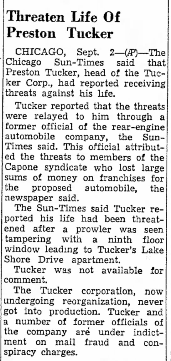 Threaten[ed] Life of Preston Tucker -