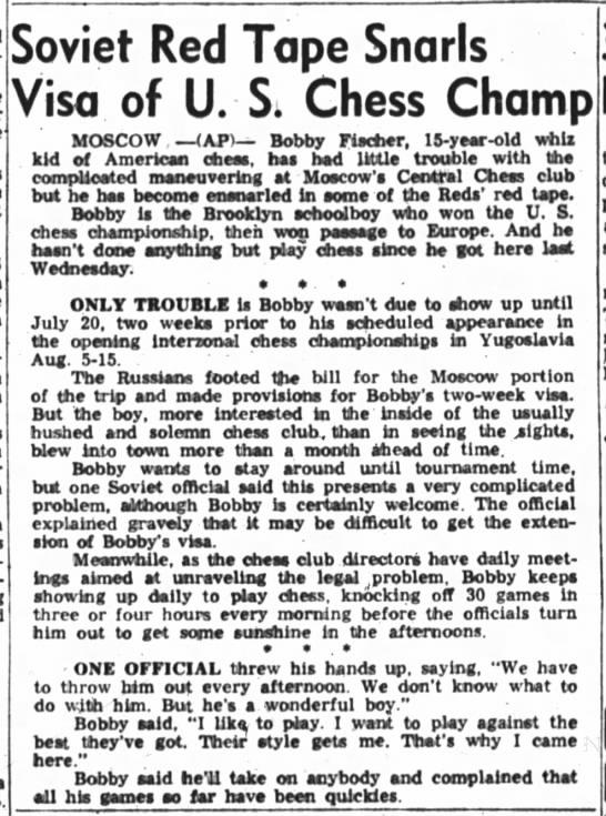 Soviet Red Tape Snarls Visa of U.S. Chess Champ -