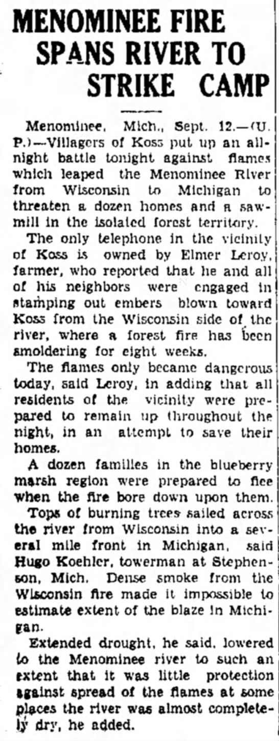 1930 Forest Fire in Koss, MI -