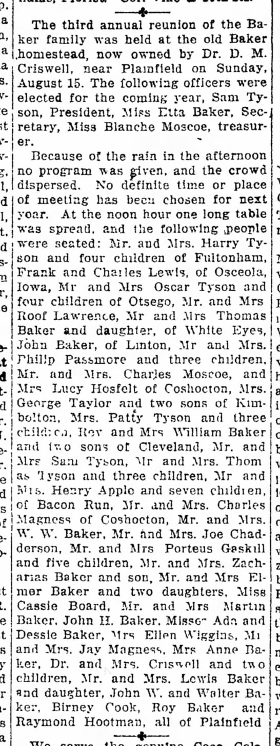 1920 Baker Reunion (2) - The Coshocton Tribune, Saturday, 28 Aug 1920, p. 3 -