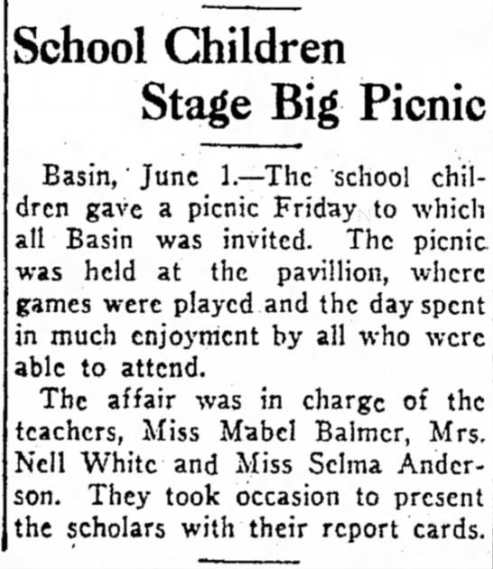 - Butte School Children Stage Big Picnic Basin,'...