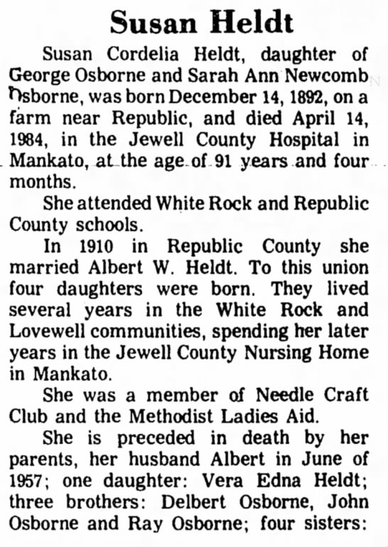 Delia's Obit part 1, April 19, 1984 -