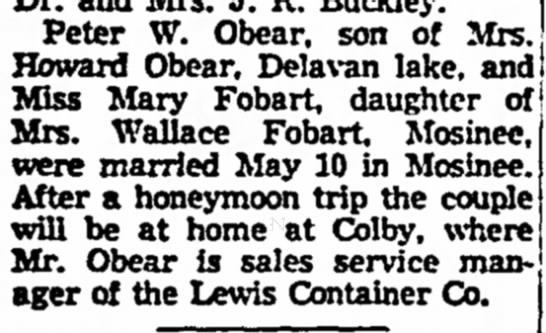 Janesville Daily Gazette - Obear Wedding -