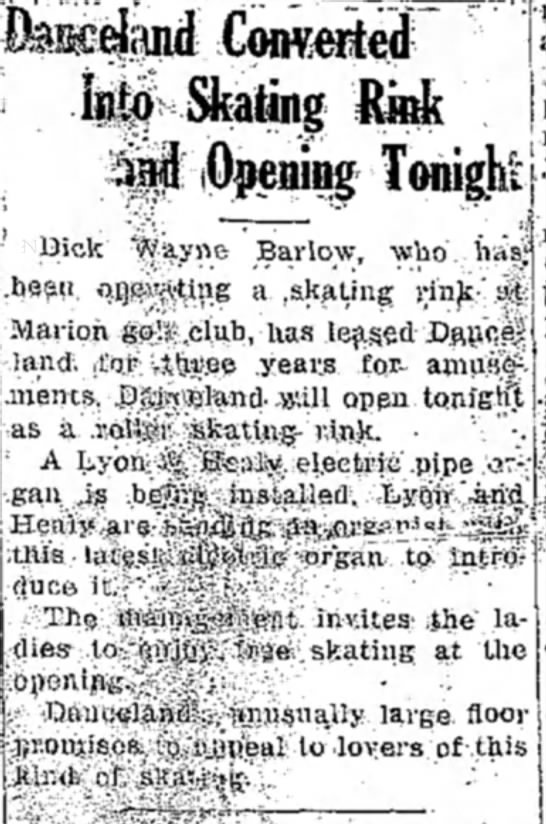 Danceland Converted Into Skating Rink And Opening Tonight (Dick Wayne Barlow) -