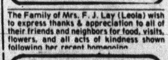 Family thanks in personals following Mrs F J Lay's (Leola