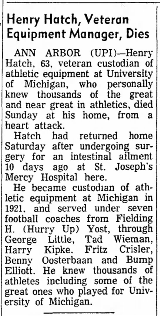 Henry Hatch, Veteran Equipment Manager, Dies -