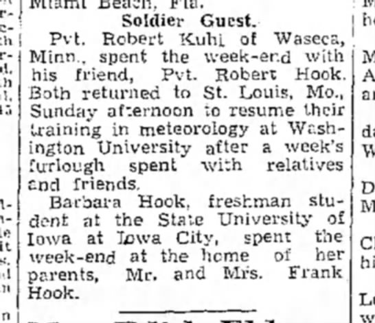 """1943 Wapello The Nuscatine News-Tribune 9.22.1943 - Soldier Guest. Pvt. Robert Kuhl of """"Waseca,..."""