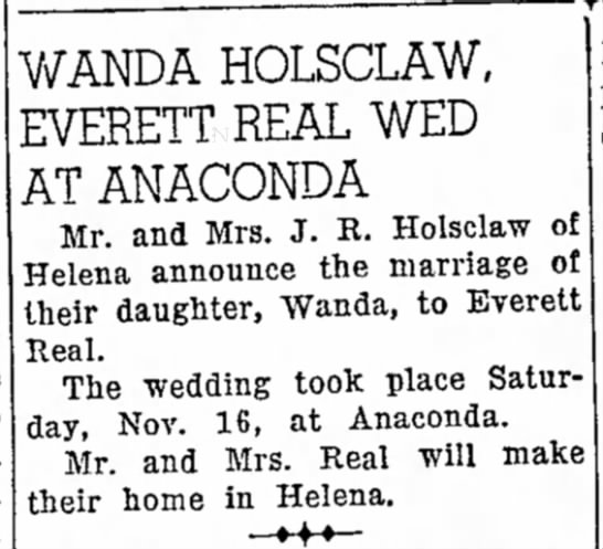 - of the Mrs. WANDA HOLSCLAW, EVERETT REAL WED AT...