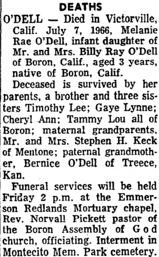 Melanie Odell obit Redlands Daily Facts 12 July 1966 -