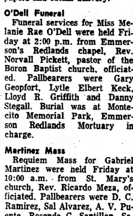 Melanie Rae Odell obit Redlands Daily Facts 16 July 1966 -
