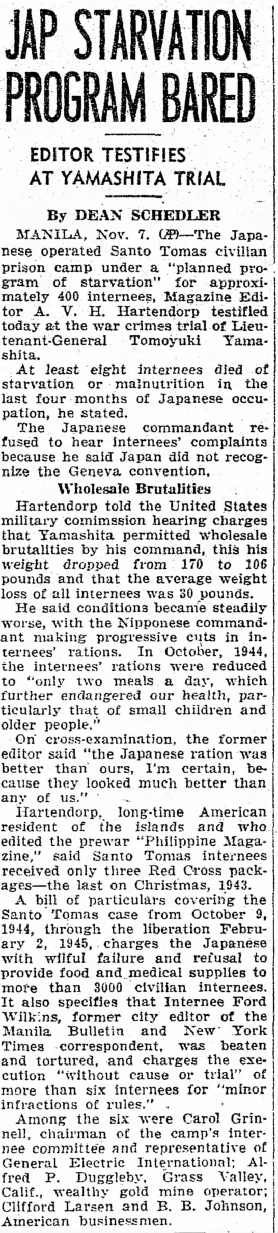 7 nov 1945 article on war crimes trial of Yamashita in Manila -