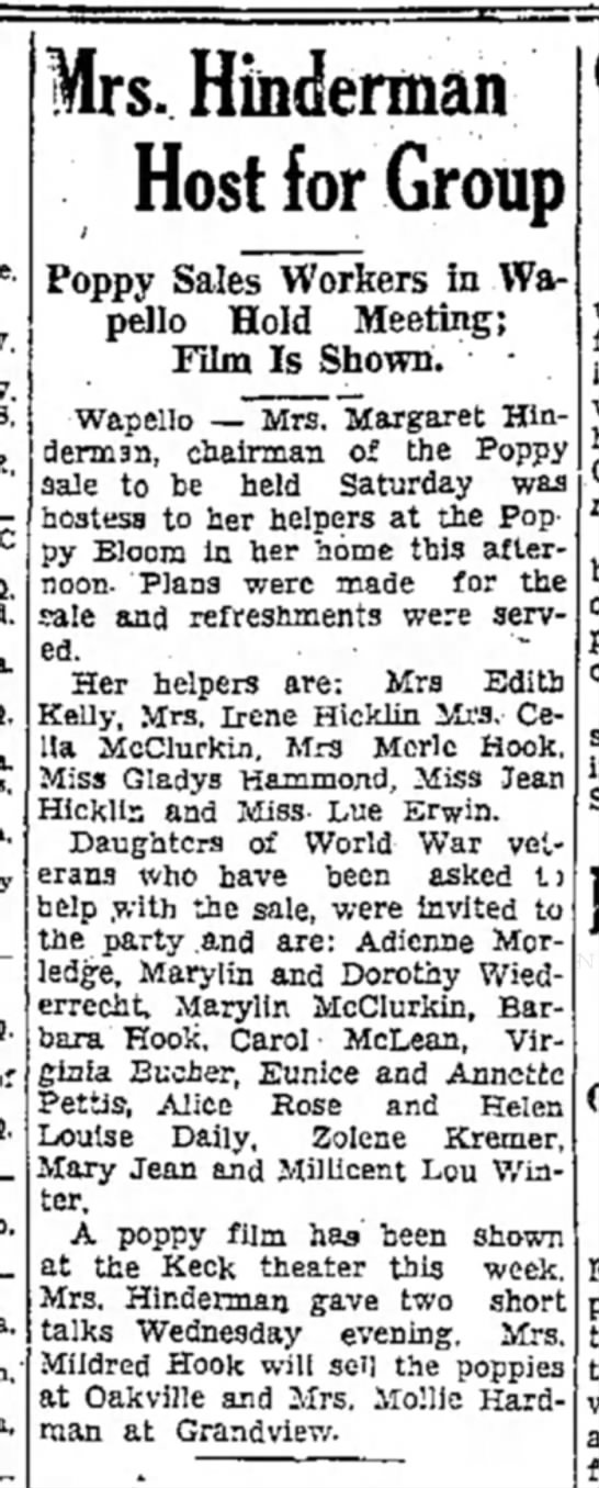 1935 (7) Wapello Muscatine News Journal 5.24.1935 - Mrs. Hinderman Host for Group Poppy Sales...