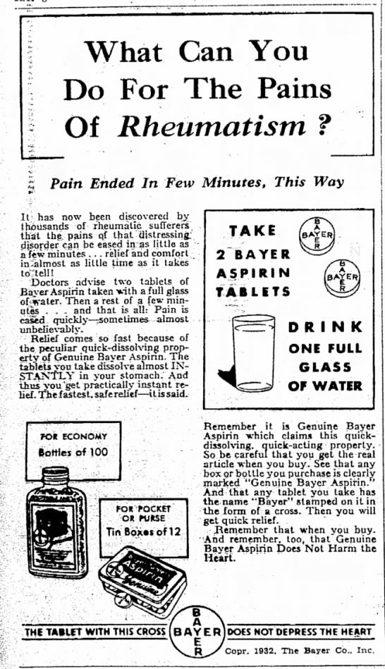 Bayer aspirin for rheumatism -