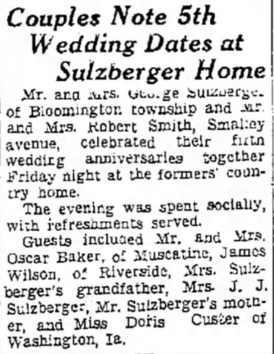 George & Goldie Sulzberger 5th wedding anniversary from Muscatine Journal 7/6/1935 -