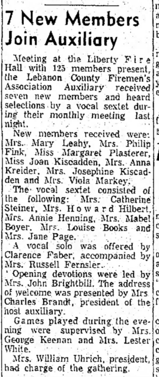 Kiscadden and Plasterer - 7 New Members Join Auxiliary 13 Feb 1957 LDN -