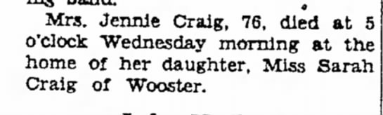 Obit of Jennie Craig 76 in 1932 -