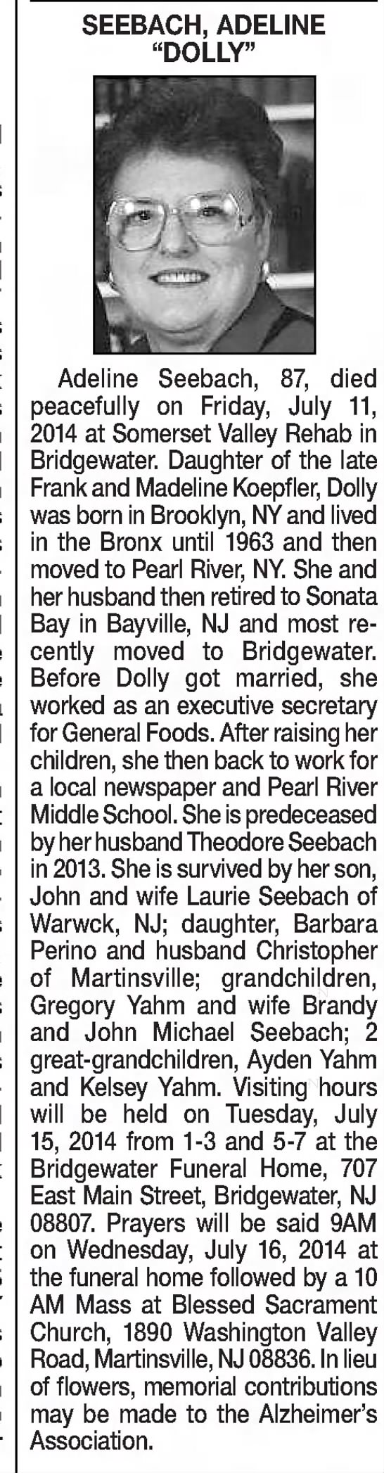 "Dolly obit - SEEBACH, ADELINE ""DOLLY"" Adeline Seebach, 87,..."