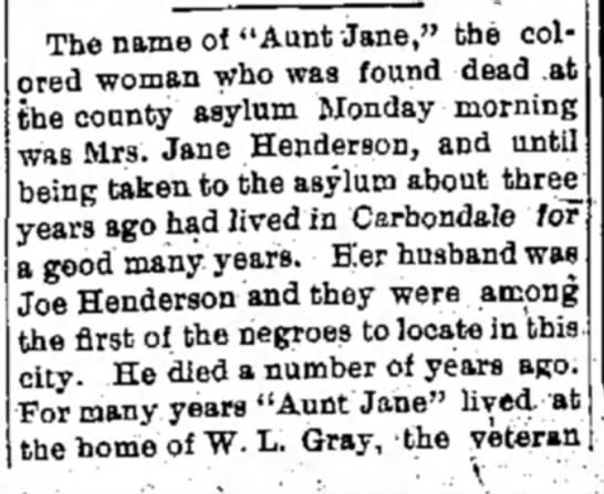 "- The name of ""Aunt Jane,"" the col ored woman who..."