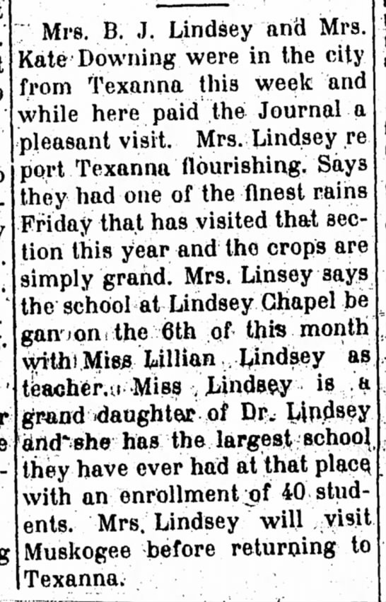 Lillian Lindsey- teacher in Eufaula 1914 -
