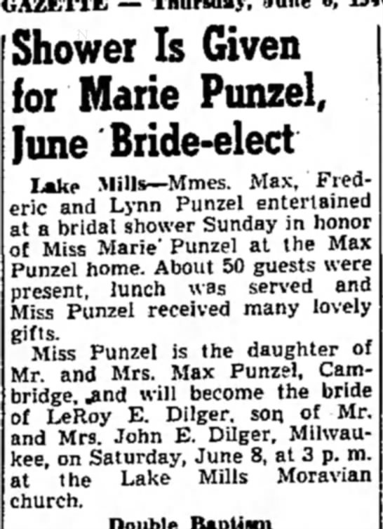 Punzel-Dilger, Marie shower
