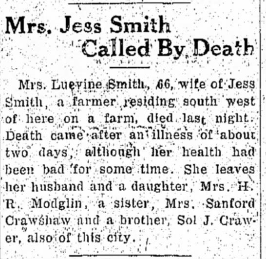 Luevine Smith Obituary -