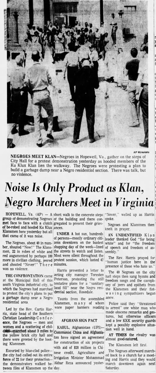 Noise is Only Product as Klan, Negro Marchers Meet in Virginia---Arizona Republic: August 7, 1966 -
