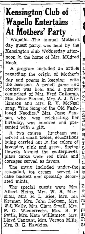 1939 Wapello Muscatine News Tribune 5.12.1939 -