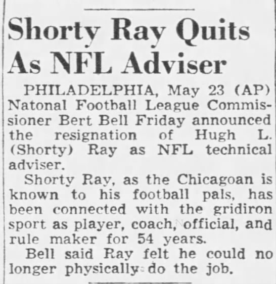 Shorty Ray Quits As NFL Adviser -