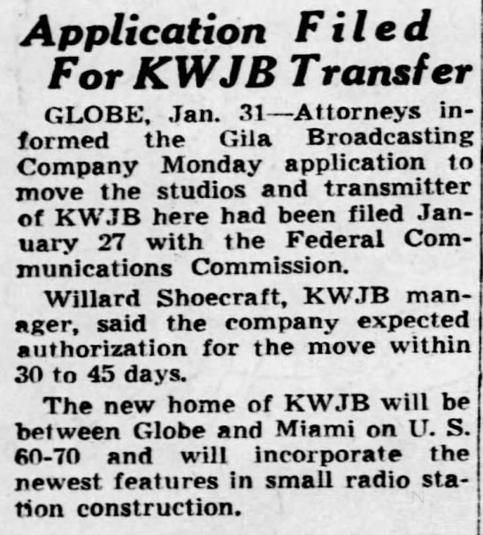 Application Filed For KWJB Transfer -