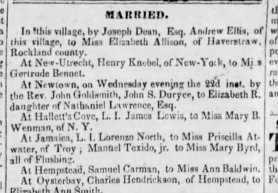 Marriage of Samuel Carman and [Sarah] Ann Baldwin -