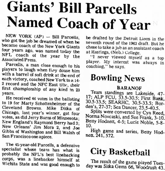 Giants' Bill Parcells Named Coach of Year -